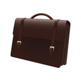 Leather briefcase isolated of a white background Stock Photos