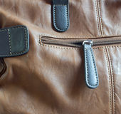 Leather brown bag detail Stock Image