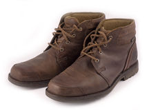 Leather brown boots Stock Images