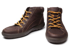 Leather brown boots Stock Photo