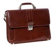 Leather brown briefcase Stock Image
