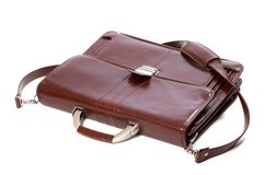 Leather brown briefcase Royalty Free Stock Photo