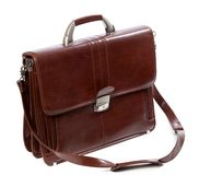 Leather brown briefcase Stock Images