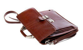 Leather brown briefcase Royalty Free Stock Images