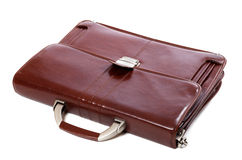 Leather brown briefcase on white background Royalty Free Stock Image