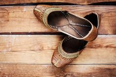 Leather brown handmade shoes Stock Photos