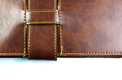 Brown notebook on white background. Leather brown notebook on white background Royalty Free Stock Photography