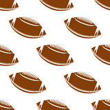 Leather brown rugby balls seamless pattern Royalty Free Stock Image