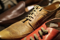 Leather brown shoe Stock Photo