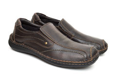 Leather brown shoes Royalty Free Stock Images