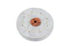 Leather Buffing Wheel for metal polishing on white background Stock Photos