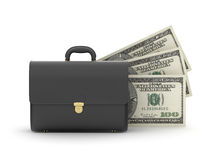 Leather business briefcase and money stock illustration