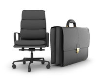 Leather business briefcase and office chair Stock Photo