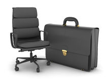 Leather business briefcase and office chair Royalty Free Stock Photography