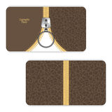 Leather business card brown with a yellow zipper and zipper closing down. Royalty Free Stock Images