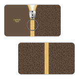 Leather business card brown with a yellow zipper and zipper closing up. Stock Image