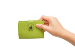 Leather business card holder in the hand Royalty Free Stock Photography