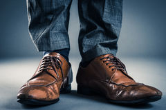 Leather Business shoes Studio shooting.  royalty free stock photo