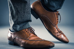 Leather Business shoes Studio shooting.  royalty free stock image