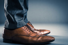 Leather Business shoes Studio shooting.  royalty free stock photography