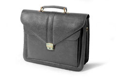 Leather business suitcase (black) - isolated Stock Image
