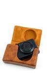 Leather camera case Stock Photos