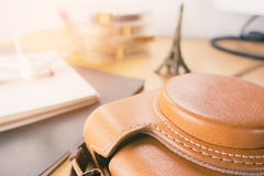 Leather Camera case for Paris Vacation Stock Image