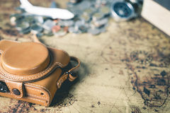 Leather camera case and traveler equipment Royalty Free Stock Images