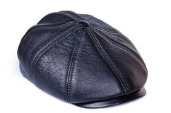 Leather cap. Close up on a white background Stock Image