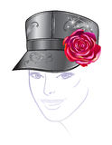 Leather cap with rose Royalty Free Stock Photo