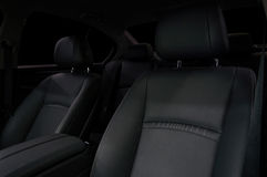 Leather car seats background. Stock Photos