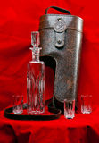 Leather case for a decanter and glasses stock image