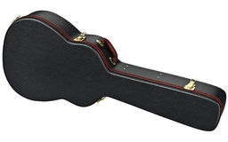 Leather case guitar bag. Black leather guitar case with brown handle. 3D graphic Royalty Free Stock Image