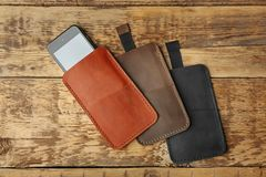 Leather cases for mobile phone Stock Photo