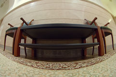Leather chair in fisheye view royalty free stock photos