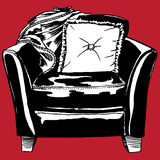 Leather Chair - Red Background. Hand drawn furniture with pillow and throw with red background Royalty Free Stock Photography