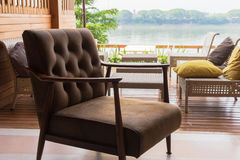 Leather chairs for relaxing on the terrace Stock Photos