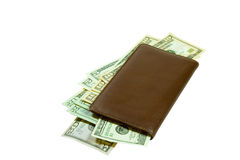 Leather checkbook with crisp currency Royalty Free Stock Images