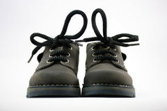 Leather children shoes. Baby shoes from grey leather Stock Images