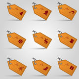 Leather christmas gift tags and labels set eps10 Royalty Free Stock Photo