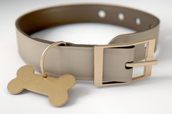Leather Collar With Tag. A brown leather dog collar with a brass bone shaped identification tag  on a white studio background - 3D render Stock Photos