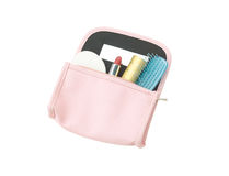 Leather cosmetic bag with cosmetics Stock Image
