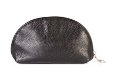 Leather cosmetics bag. Black leather cosmetics bag over white background Stock Photos