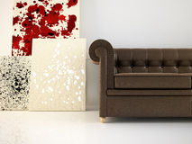Leather couch and abstract canvas Stock Photos