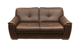 Leather couch brown. Brown leather couch isolated with clipping path included Stock Images
