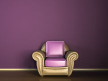 Purple couch sofa. Purple sofa couch against purple wall, wood floor, clean wall in apartment vector illustration