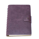 Leather cover of green notebook Stock Photos