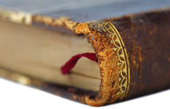 Leather cover of an old book closeup Royalty Free Stock Photo
