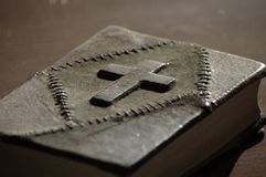 Bible with a leather-cover royalty free stock photos