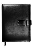 Leather-covered bound notebook with black cover Stock Photo
